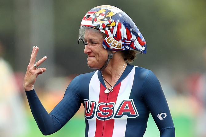 Kristin Armstrong won a 3rd cycling gold at age 43 in Rio this year. (No relation to Lance.)